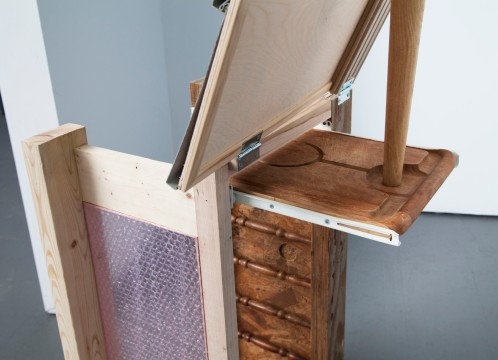Detail of cutting board drawer and table leg kickstand