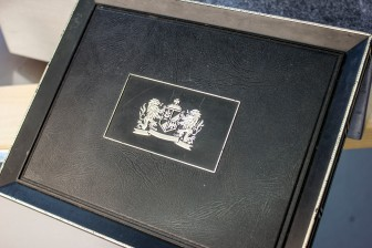 Detail of Cigar Case with English Cote of Arms motif