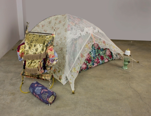 Found fabrics, found curtain rods, found ceramic wares, steel, mixed media, dimensions variable