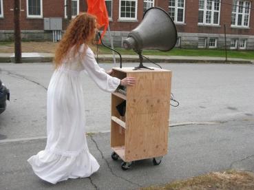 Pushing cart to performance spot