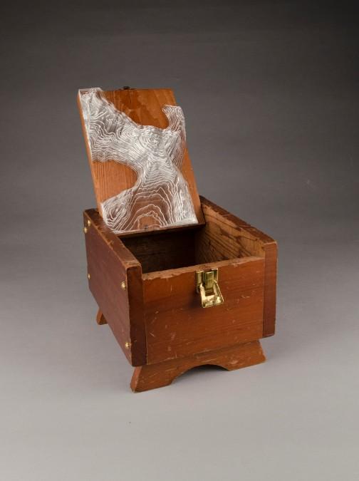 """Found shoeshine box, Plexiglass; 8"""" x 14"""" x 7.5"""""""