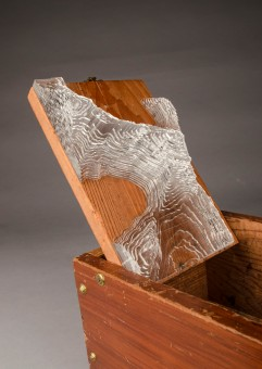 "Found shoeshine box, Plexiglass; 8"" x 14"" x 7.5"""