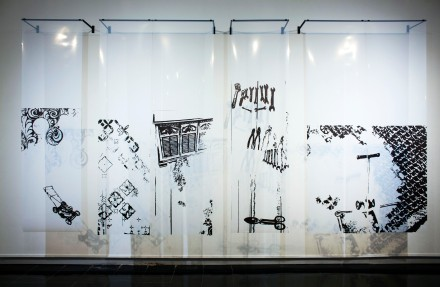 """Plans for an Adopted Future; Installation: 120"""" x 80"""" x 12""""; digitized drawings printed on OHP, hung with steal brackets"""